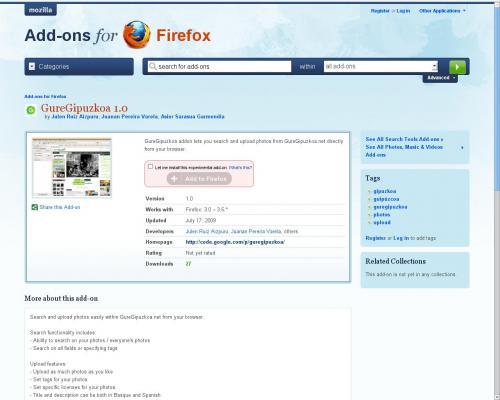 GureGipuzkoaren MozillaFirefox gehigarria repositorio ofizialean.