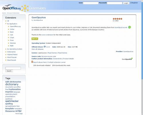 OpenOfficeeko gehigarria repositorio ofizialean.