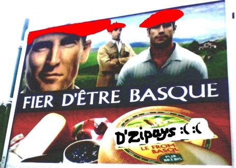 """Hendaiako kale-iragarkian GuerrillArt eraldaketa: """"Le frómage dZipays Basque"""", euskaldun izateaz harro, dio frantsesez,"""