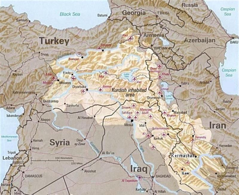 Kurdistango-mapa