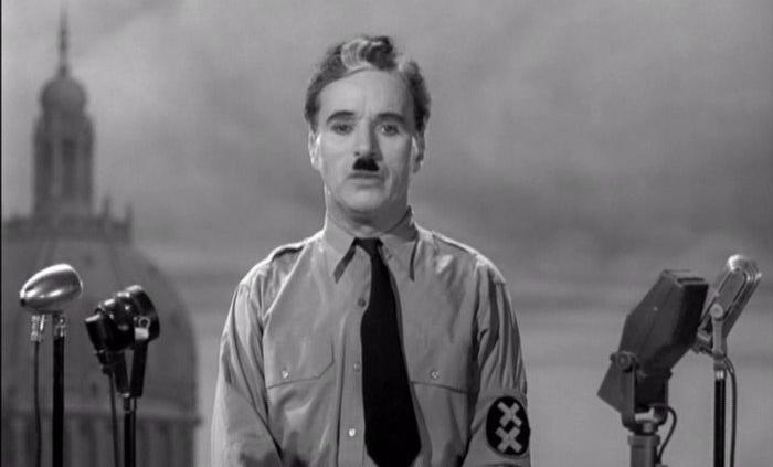 The Great Dictator filmeko fotograma Diktadore handiaren diskurtsoa, inoiz baino biziago