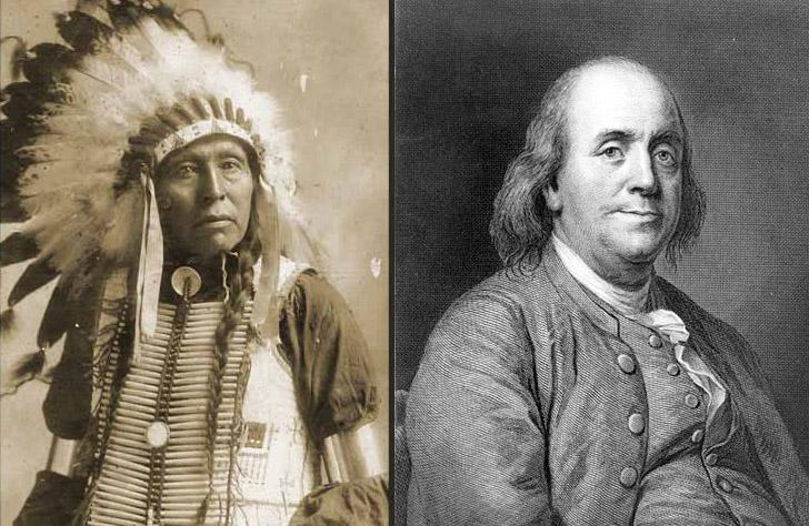 Seattle buruzagia eta Benjamin Franklin AEBetako presidentea