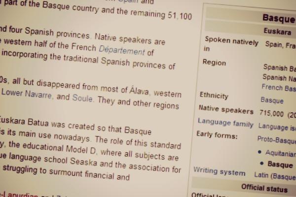 Zein da Wikipedian euskarak gainerako hizkuntzen artean duen tokia?