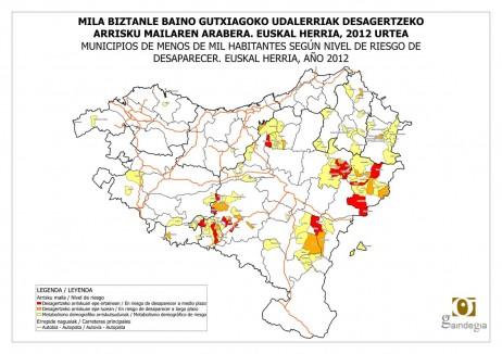Desagertzeko arriskuan dauden udalerriak Euskal Herrian