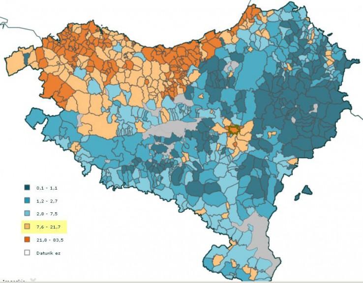 Gune oso urbanoak eta udalerri deskonektatuak Euskal Herrian