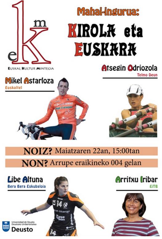 """""""Kirola eta euskara"""" mahai ingurua Euskal Kultur Mintegiaren eskutik"""