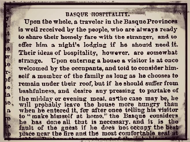 """New York Times (1875) euskaldunen abegikortasunaz: """"Etxean bezala sentitzeko esanda, dena egin dutela uste dute"""""""