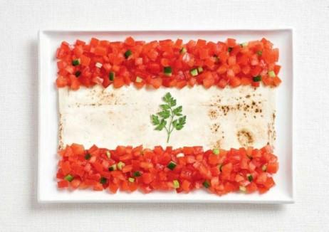 Libanoko bandera: lavash, fattoush eta perrexilarekin
