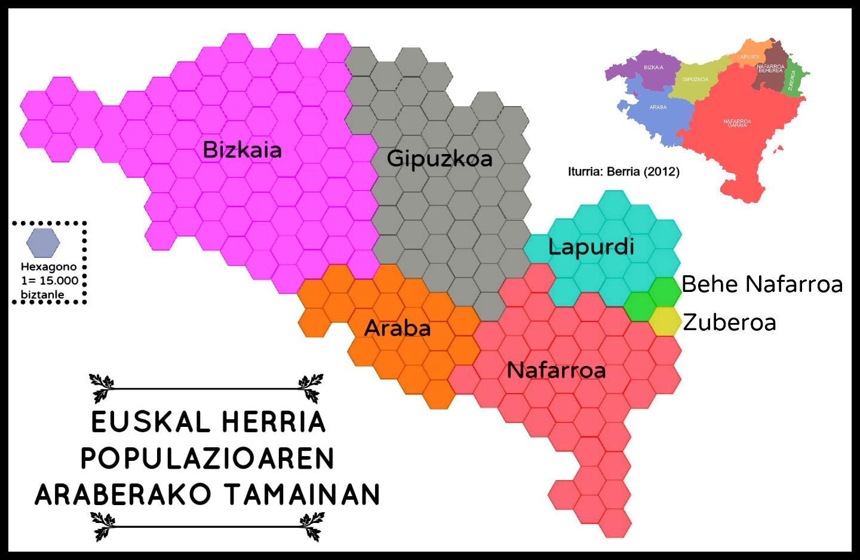 Euskal Herria populazioaren araberako tamainan
