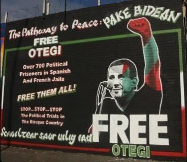 Arnaldo Otegiren horma-irudia egin dute Belfasten