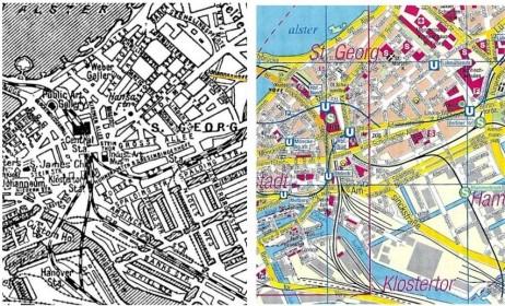 St. Georg auzoko planoa 1922an eta 2012an