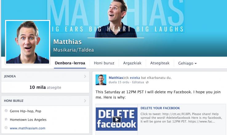 Matthiasek Facebooka ezabatuko du larunbatean
