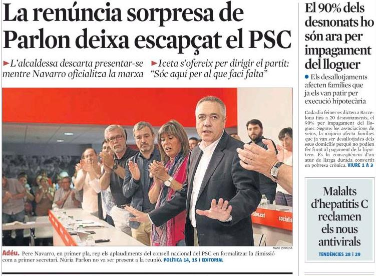 Pere Navarro La Vanguardiako azalean