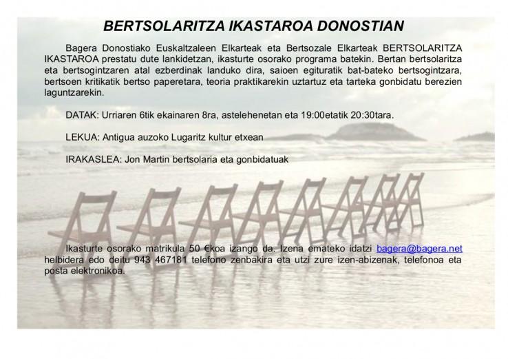 Bertsolaritza ikastaroa Donostian