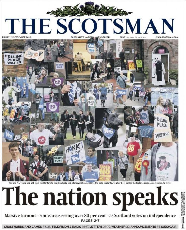 Eskoziak erabaki osteko egunkarien azalak