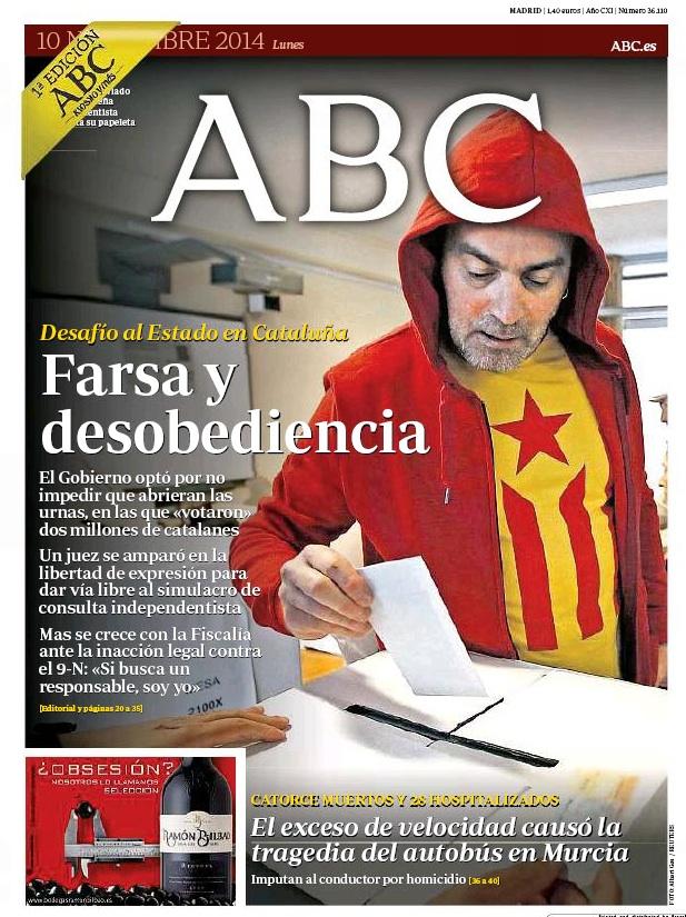 Kataluniako galdeketaren osteko egunkarien azalak