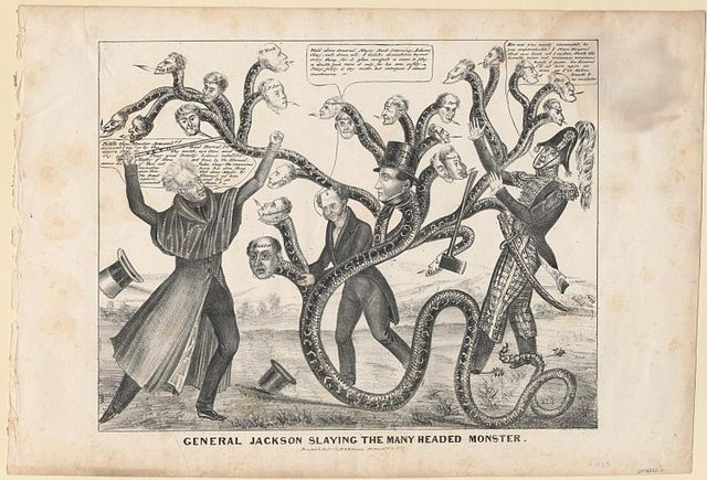 Jackson buru askoko herensuge-Bankuaren kontra borrokan, presidente Nicholas Biddle duela