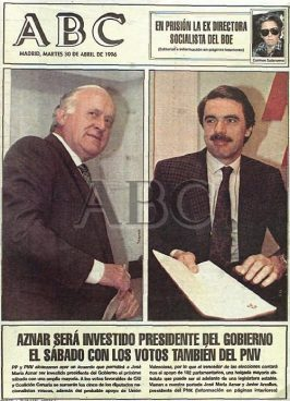 Gaur 20 urte Aznar Espainiako presidente, EAJrekin sinatutako akordioari esker
