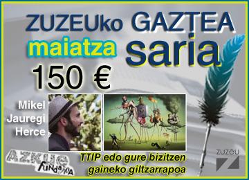 Mikel Jauregi Hercek irabazi du maiatzeko Zuzeu Gaztea Saria