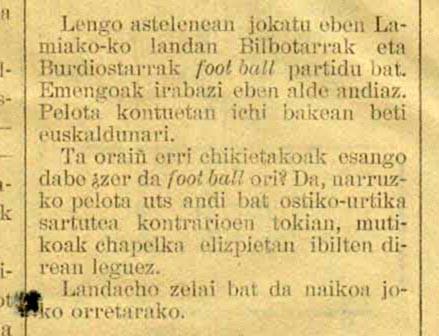 1902koa da Athleticen gaineko lehenengo euskarazko albistea