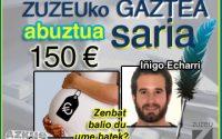Iñigo Echarrik eskuratu du abuztuko Zuzeu GAZTEA Saria