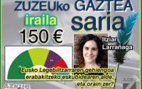 Itziar Larrañagak irabazi du iraileko Zuzeu GAZTEA Saria