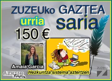 Amaia Garciak erdietsi du urriko Zuzeu Gaztea Saria