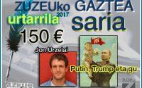 Jon Urzelaik eskuratu du urtarrileko Zuzeu Gaztea saria