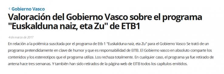"""Espainiarrak minduta """"fatxa"""" eta """"txoni"""" estereotipoak ETB1en agertu direlako"""