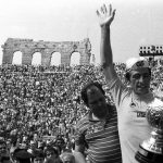 Francesco Moser celebrating his 1984 Giro win in the Verona Arena.