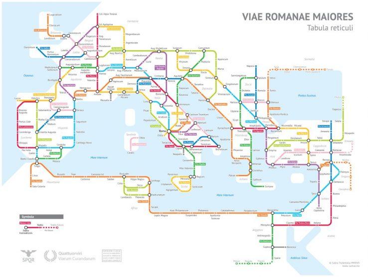 Erromatar inperioak eraikitako metroaren mapa