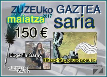 Eugenia Garayk eskuratu du maiatzeko Zuzeu Gaztea Saria