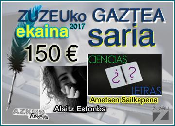 Alaitz Estonbak irabazi du ekaineko Zuzeu Gaztea Saria