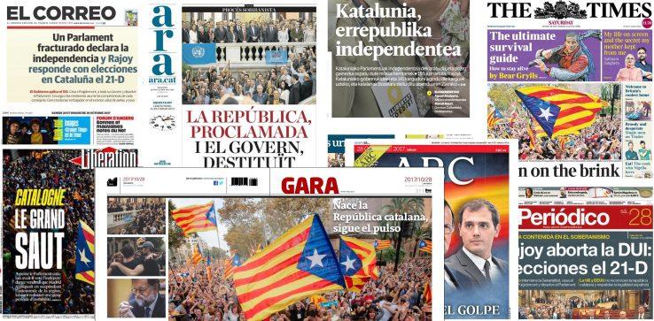 Kataluniako independentzia egunkarietako azaletan