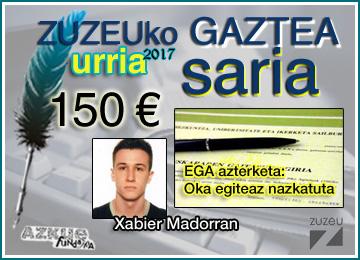 Xabier Madorranek eskuratu du urriko Zuzeu Gaztea Saria