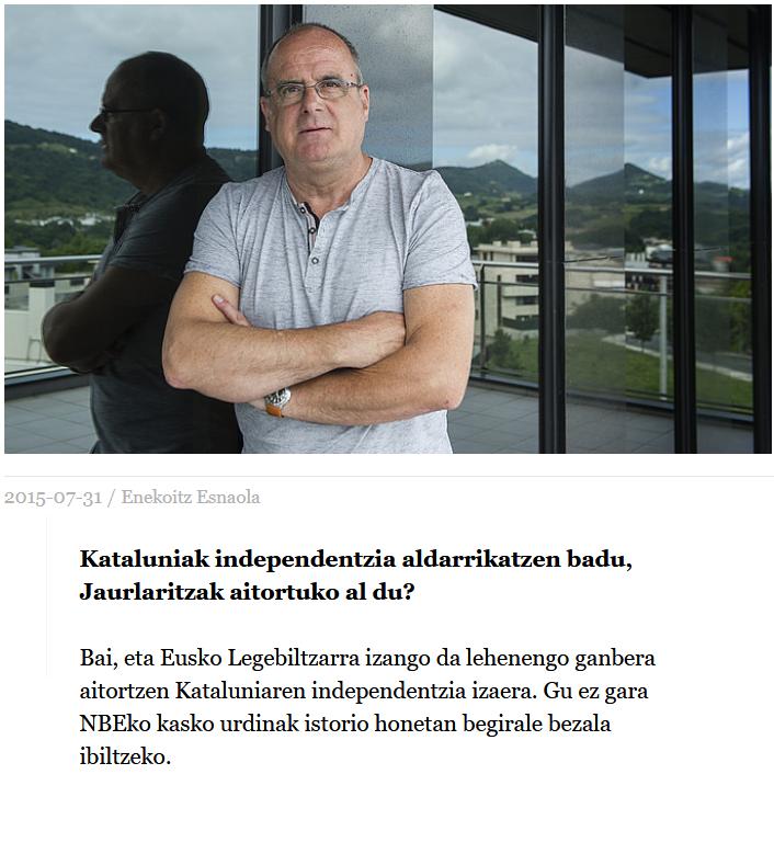 Joseba Egibar: Eusko Legebiltzarra izango da lehenengo ganbera aitortzen Kataluniaren independentzia izaera