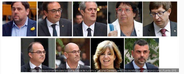Oriol Junqueras, Josep Rull, Joaquim Forn, Dolors Bassa, Carles Mundo, Jordi Turull, Raul Romeva, Meritxell Borras, Santi Vila.