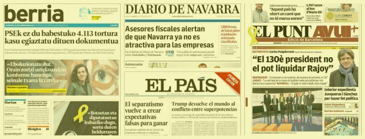 [Egunkarien azalak] Kataluniako hauteskundeetako hausnarketa egunaren bezperan
