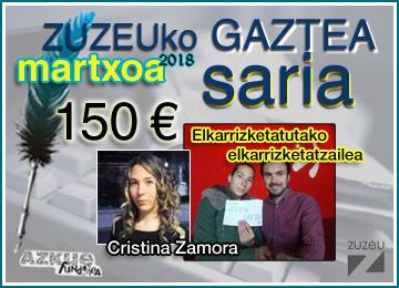 Cristina Zamorak eskuratu du martxoko Zuzeu Gaztea Saria