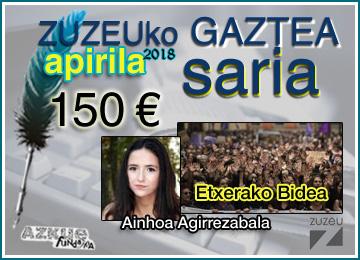Ainhoa Agirrezabalak irabazi du apirileko Zuzeu Gaztea Saria