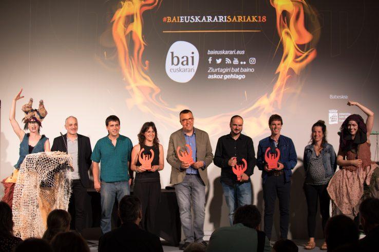 2018ko Bai Euskarari Sariak Talleres Mitxelena, Fideslan, Jon Garaño eta Aitor Arregirentzat