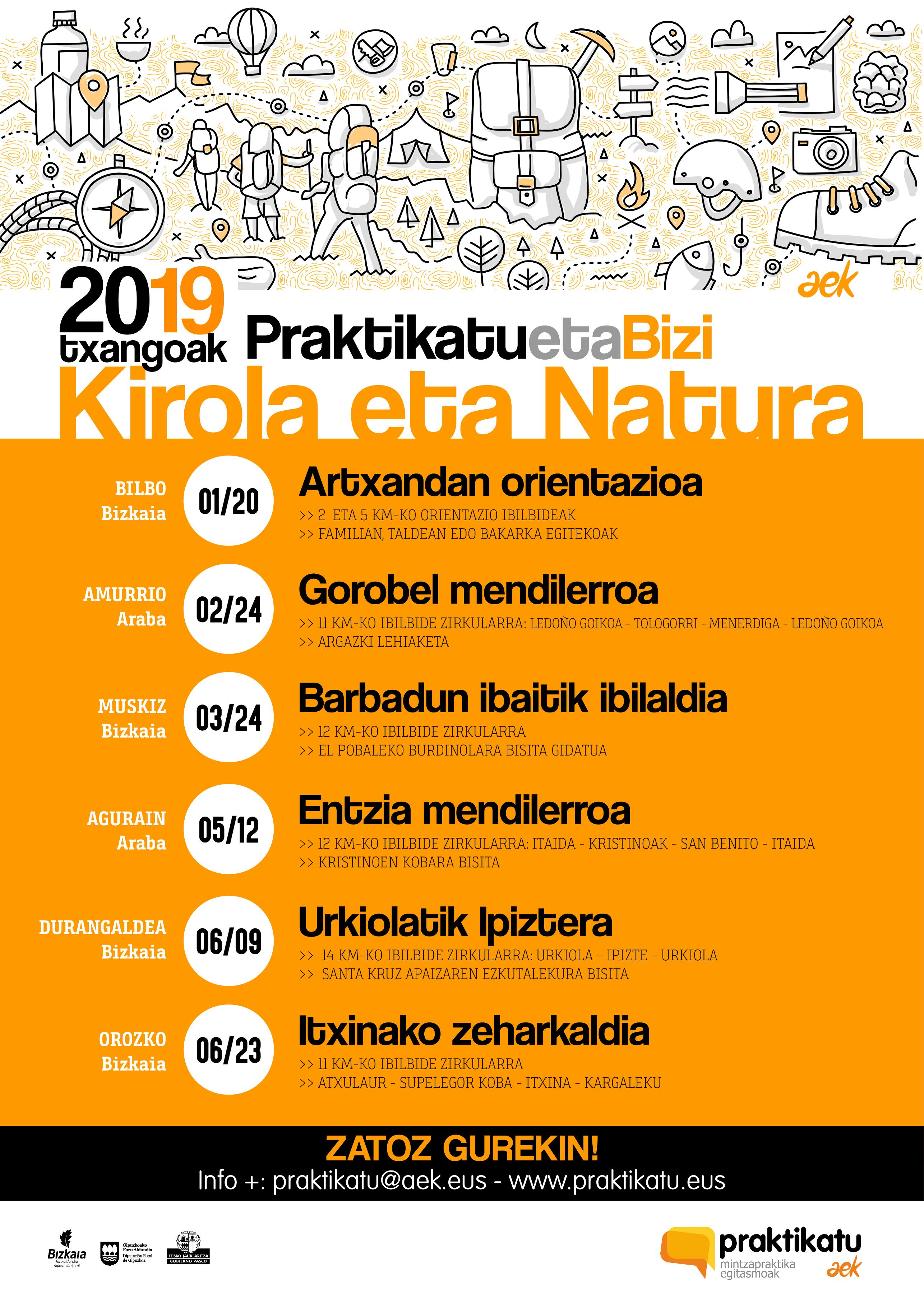 KIROLA eta NATURA programa. 2019ko txangoak