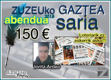 Ioritz Ardeok irabazi du Abenduko Zuzeu Gaztea Saria