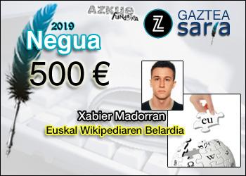 Xabier Madorran, Neguko Zuzeu Gaztea Sariaren irabazlea