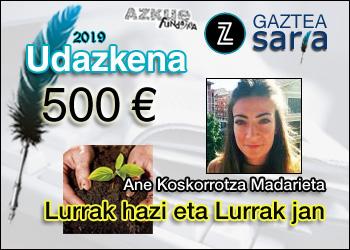 Ane Koskorrotzak eskuratu du Udazkeneko Zuzeu Gaztea Saria