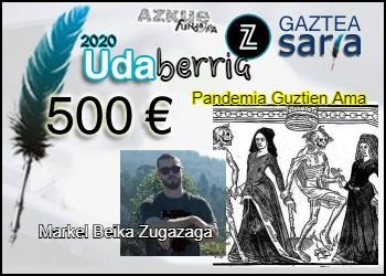 Markel Beikak eskuratu du udaberriko Zuzeu Gaztea Saria