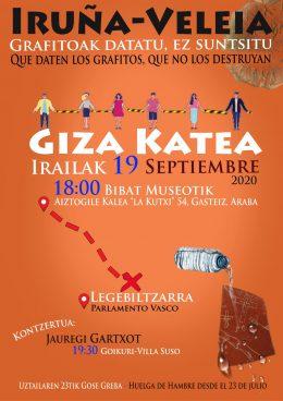 Iruña-Veleiako grafitoak suntsitu nahi dituzte: Giza Katea