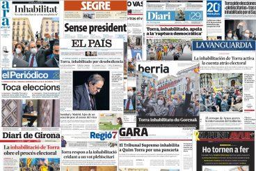 [Azalak] Quim Torra Kataluniako Presidentearen inhabilitazioa prentsan