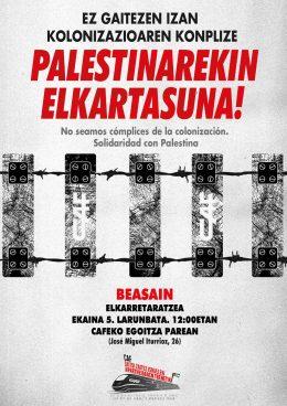 CAFeko zuzendaritzari Jerusalen hiriko tranbiaren proiektuan parte-hartu ez dezan eskatzeko elkarretaratzea