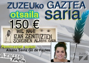 Alazne Sainzek erdietsi du otsaileko Zuzeuko Gaztea Saria